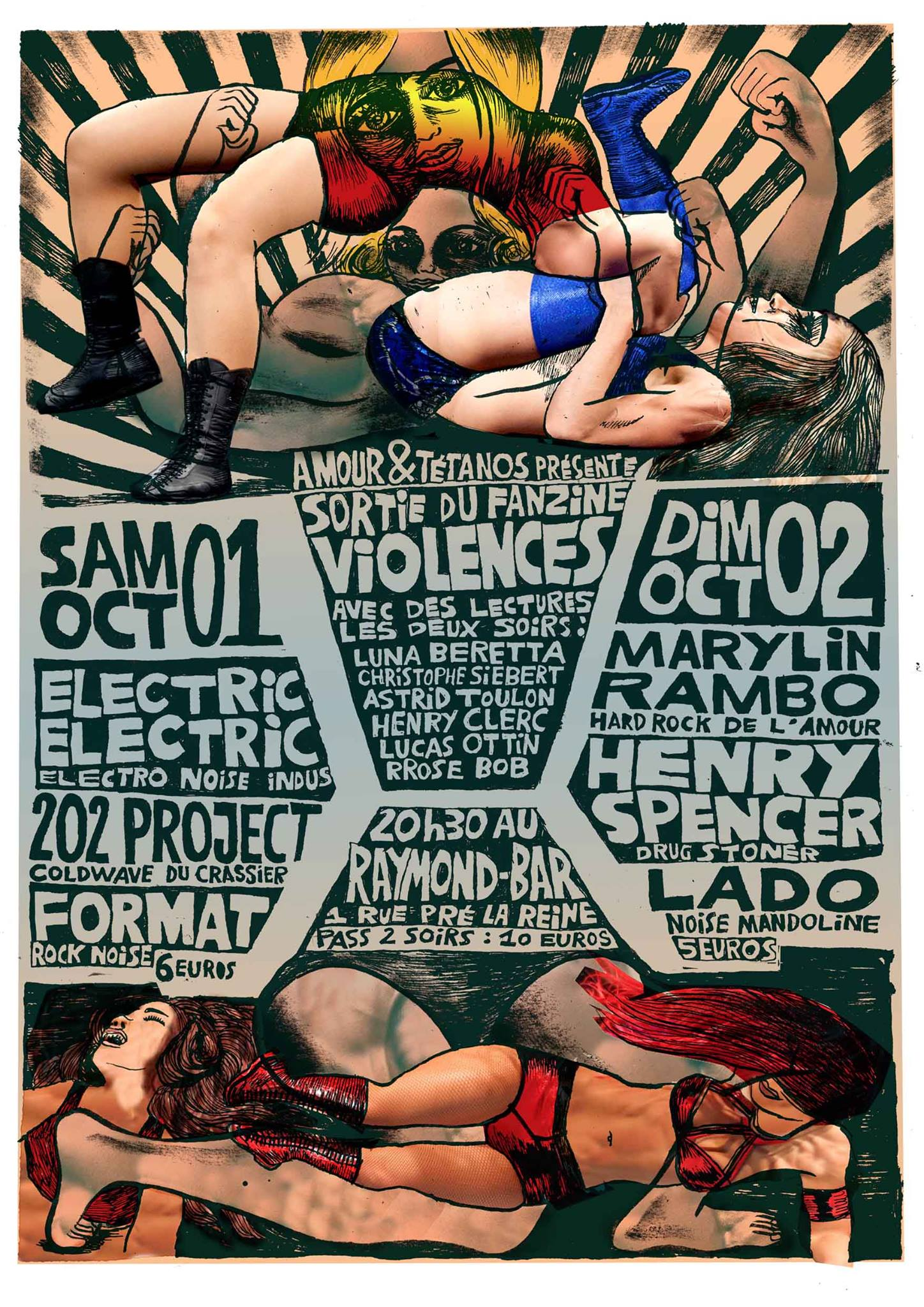 Festival Amour et Tétanos: Electric Electric / 202 project / Marylin Rambo / Lado / Henry Spener / Format
